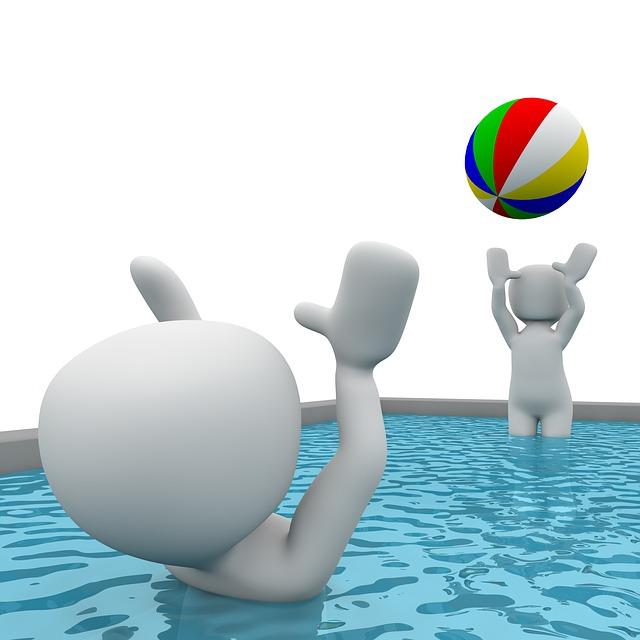 klídek v bazénu